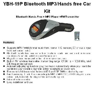 Bluetooth MP3/Hands Free Car Kit (Bluetooth Hands Free + MP3 Player +FM Transmit
