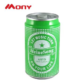 Beverage shaped MP3 player with built-in flash memory