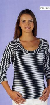 LADIES' 65% POLYESTER 35% COTTON 1X1 RIB YARN DYE STRIPE T-SHIRT