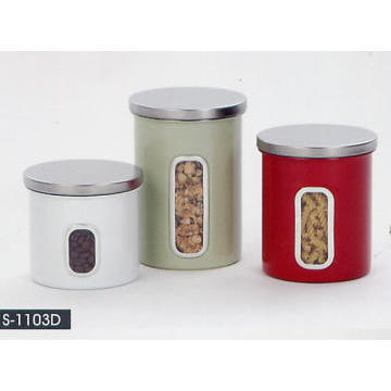 Stainless Stell Household Accessories - Coating Canister w/Acrylic Window Bady & S/S Lid